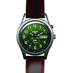 Angler, Green EL Dial, Sandblasted S.S. Case, Leather Band