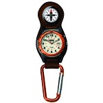 Outrider Compass Clip, White EL Dial, Orange Bezel, Or. Clip
