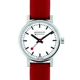 EVO Ladies - White Dial, Red Leather Strap