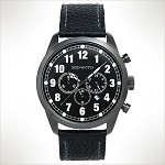 Szanto Series 2000<br />Leather Strap - Black with Steel IP Gun Buckle