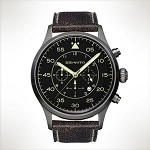 Szanto Series 2600<br />Leather Strap - Black with Gray Stitching